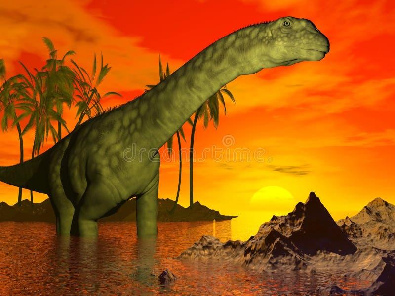 Argentinosaurusdinosaurier durch Sonnenuntergang - 3D übertragen lizenzfreie abbildung