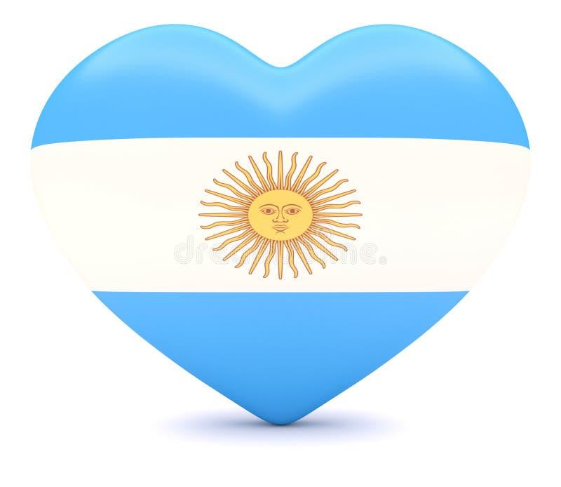 Argentinsk flaggahjärta, illustration 3d stock illustrationer