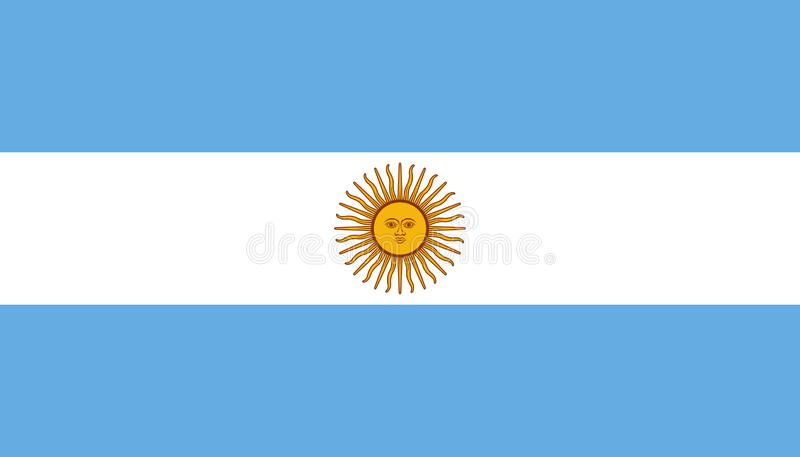 Argentinsk flaggasymbol i plan stil Nationell teckenvektorillustration Klok aff?rsid? royaltyfri illustrationer