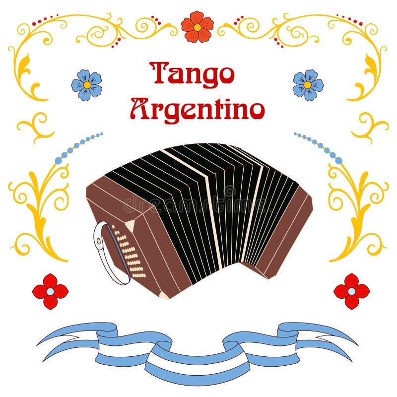 Argentinsk tangobandoneonaffisch stock illustrationer