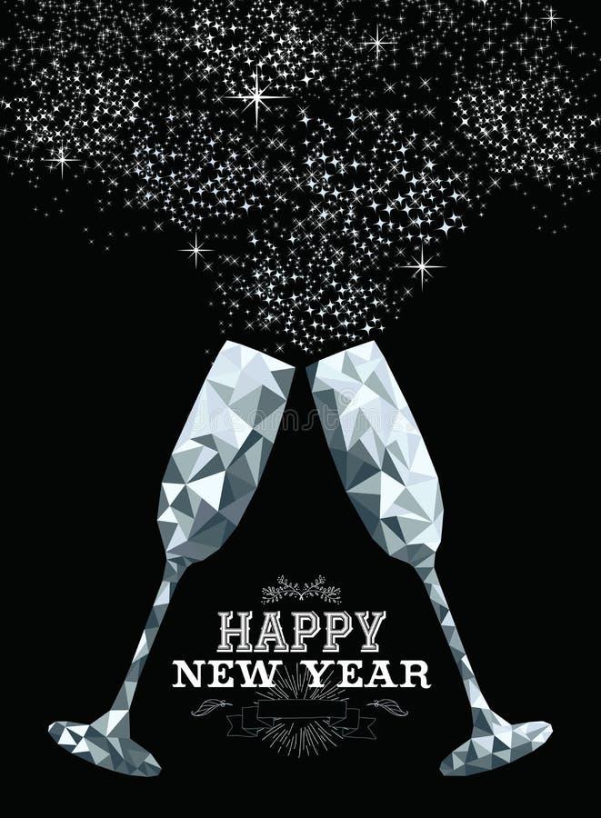Argento basso di vetro del poligono del pane tostato del buon anno illustrazione vettoriale