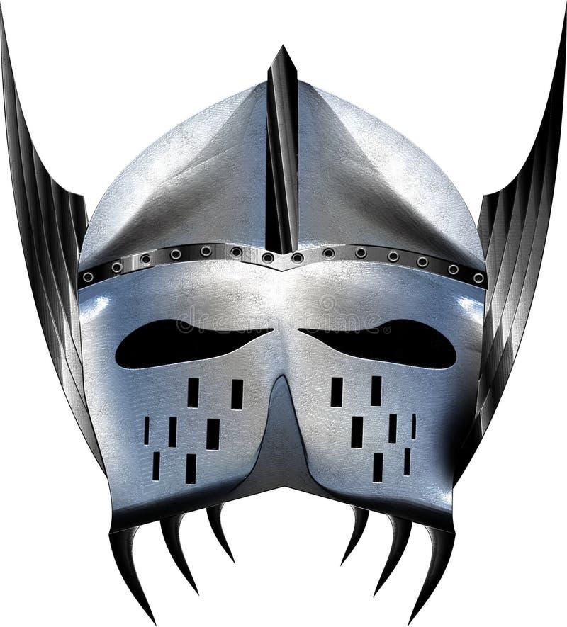 Argento brillante blu del casco medievale di fantasia con le ali fotografia stock