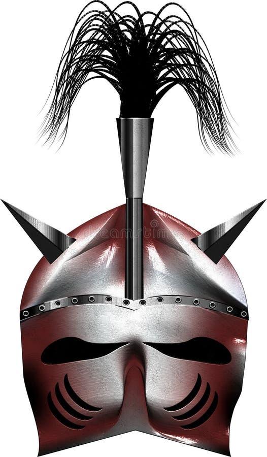 Argento brillante del casco rosso medievale di fantasia immagini stock