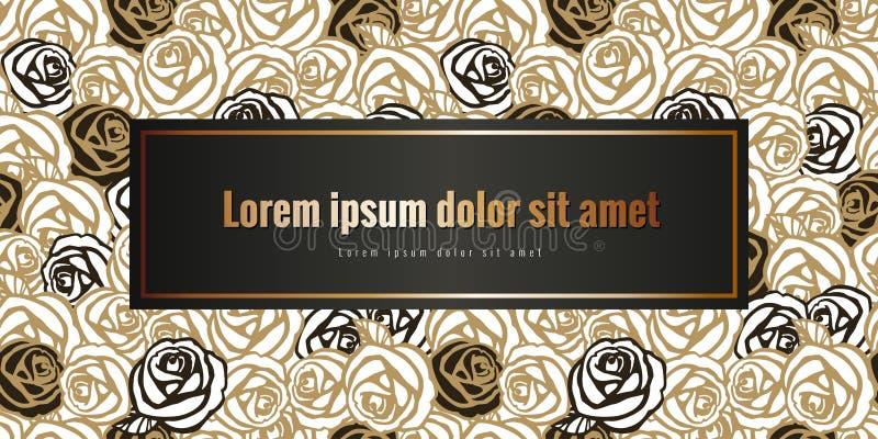 Argento d'annata e marrone della carta dell'estratto astratto romantico con la rosa con la struttura per testo royalty illustrazione gratis