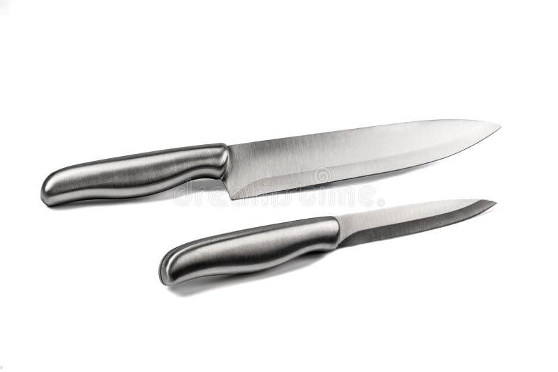 Argento del coltello dell'acciaio inossidabile brillante fotografia stock libera da diritti