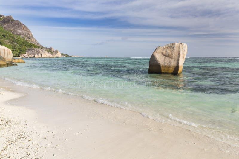 Argento del ` di fonte D di Anse, La Digue, Seychelles fotografie stock libere da diritti