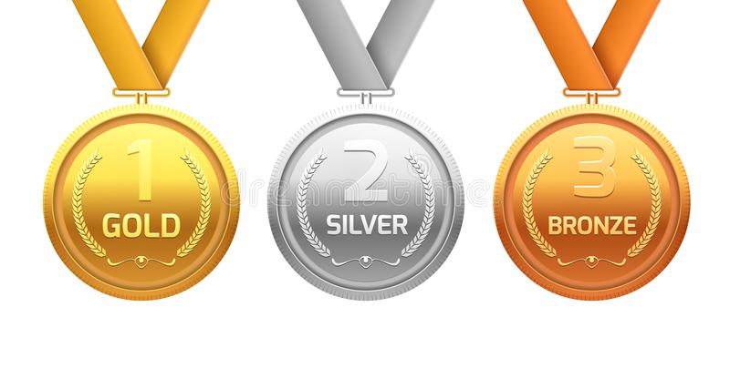 Argento e bronzo dell'oro della medaglia del premio Reparto del metallo del campione per il vincitore Risultato di vettore royalty illustrazione gratis