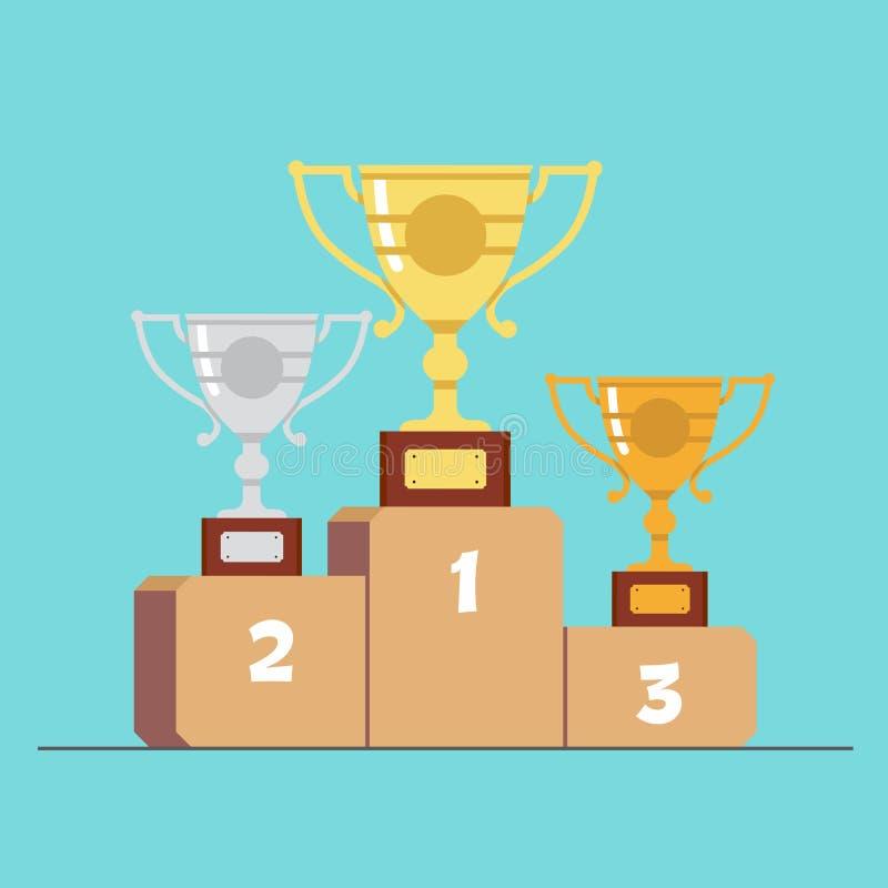 Argento e medaglie di bronzo dell'oro sul podio Illustrazione piana di vettore del fumetto royalty illustrazione gratis