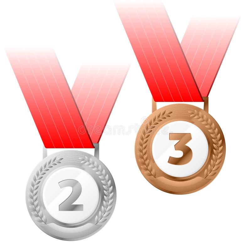 Argento e medaglie di bronzo di vettore royalty illustrazione gratis