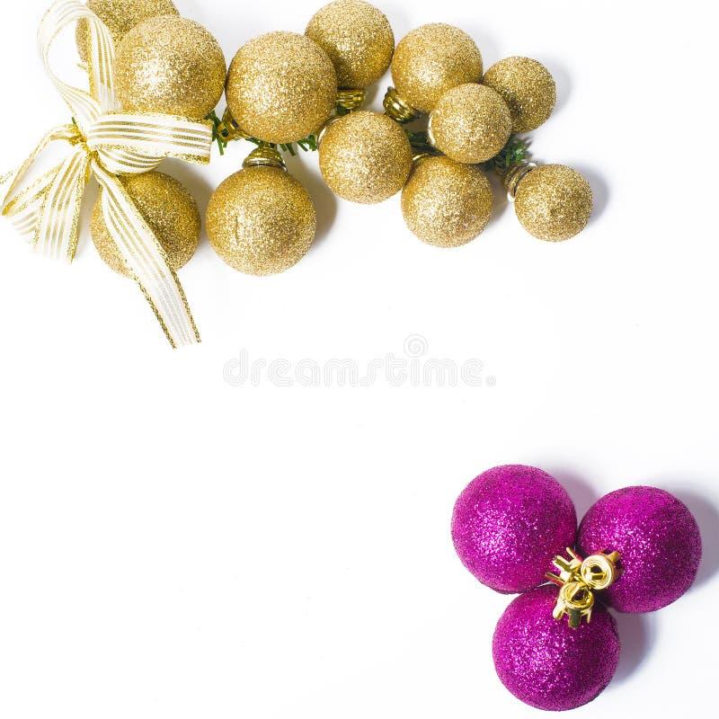 Argento e porpora dell'ornamento di Natale fotografie stock