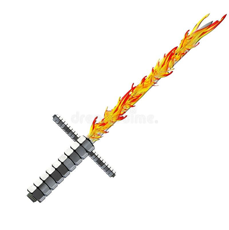 Argento medievale della spada di fantasia con la maniglia piacevole e la lama tagliente immagine stock libera da diritti