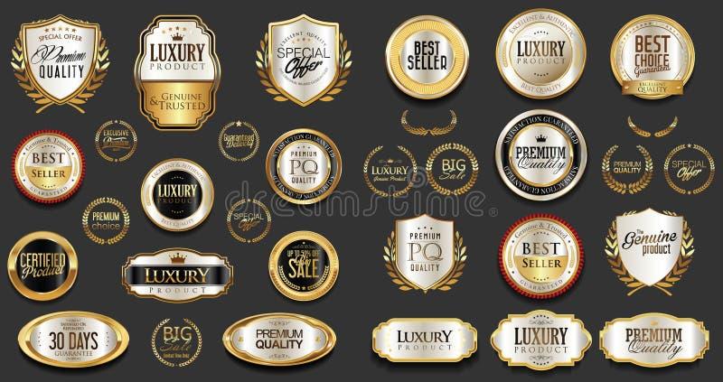 Argento premio e di lusso e retro distintivi e raccolta neri delle etichette illustrazione vettoriale