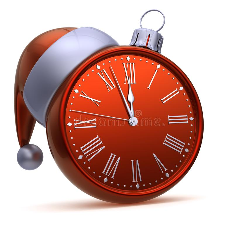 Argento rosso della palla di Natale del fronte di orologio Nuovo anno di mezzanotte di ora di mezz'ora royalty illustrazione gratis