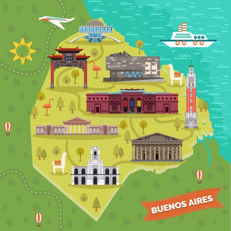 Argentyna Buenos Aires kapitałowa mapa z punktami zwrotnymi ilustracji