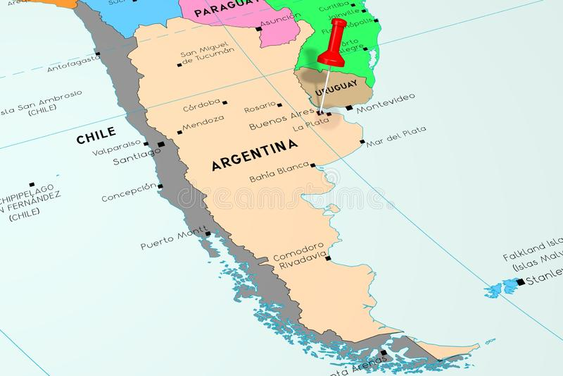 Argentyna, Buenos Aires - stolica, przyczepiająca na politycznej mapie royalty ilustracja