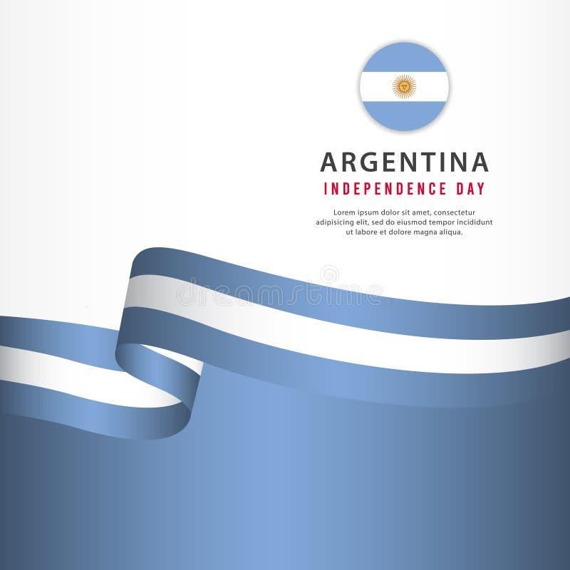 Argentyna dnia niepodległości świętowanie, sztandaru ustalonego projekta szablonu Wektorowa ilustracja ilustracji