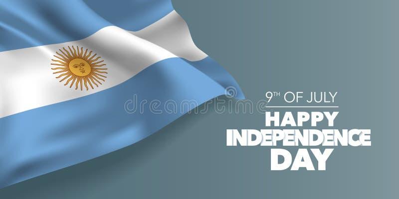 Argentyna dnia niepodległości szczęśliwa kartka z pozdrowieniami, sztandar z szablonu teksta wektoru ilustracją ilustracja wektor