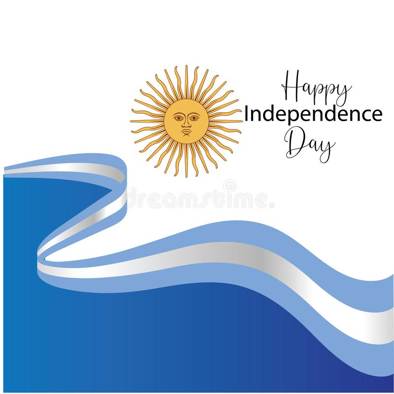 Argentyna dnia niepodległości szczęśliwa kartka z pozdrowieniami, sztandar, wektorowa ilustracja - wektor royalty ilustracja