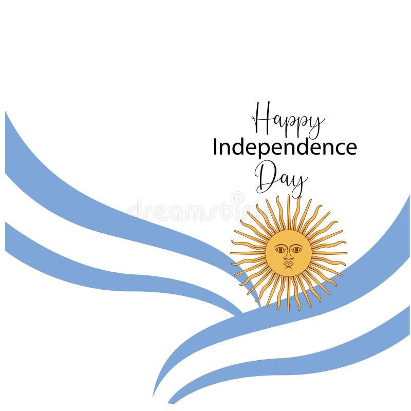 Argentyna dnia niepodleg?o?ci szcz??liwa kartka z pozdrowieniami, sztandar, wektorowa ilustracja - wektor royalty ilustracja