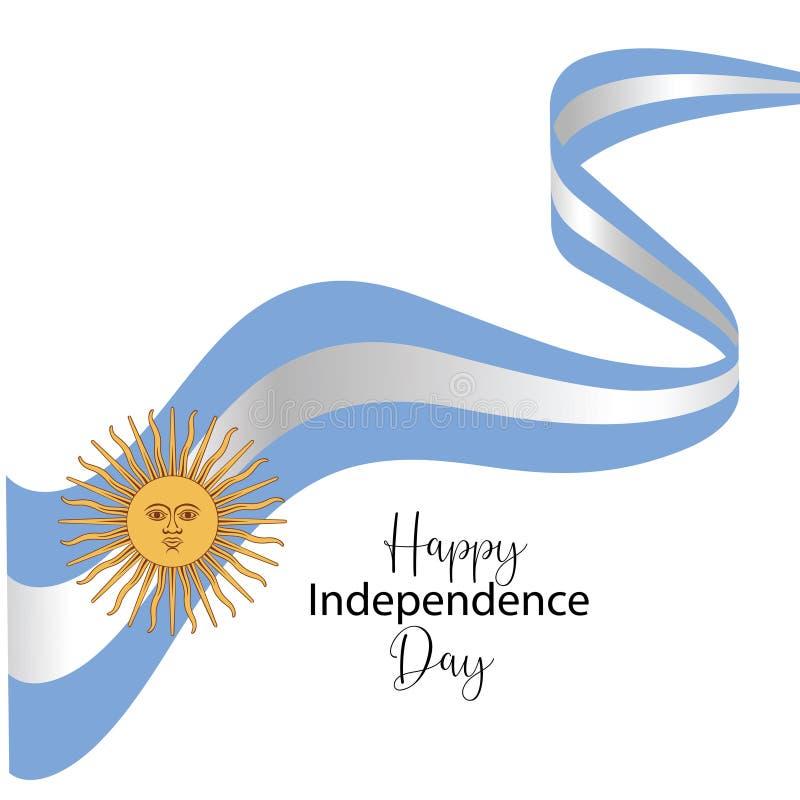 Argentyna dnia niepodleg?o?ci szcz??liwa kartka z pozdrowieniami, sztandar, wektorowa ilustracja - wektor ilustracji