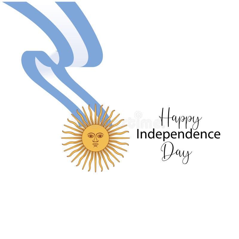 Argentyna dnia niepodleg?o?ci szcz??liwa kartka z pozdrowieniami, sztandar, wektorowa ilustracja - wektor ilustracja wektor