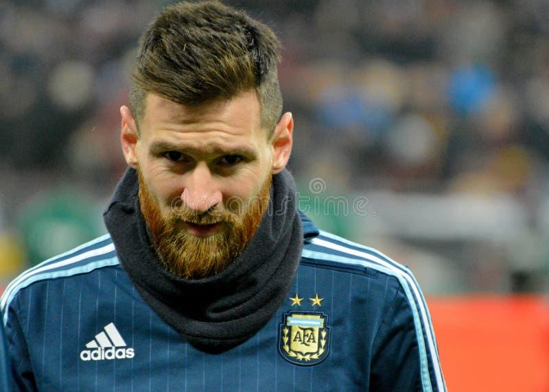 Argentyna drużyny futbolowej krajowy kapitan Lionel Messi obraz royalty free