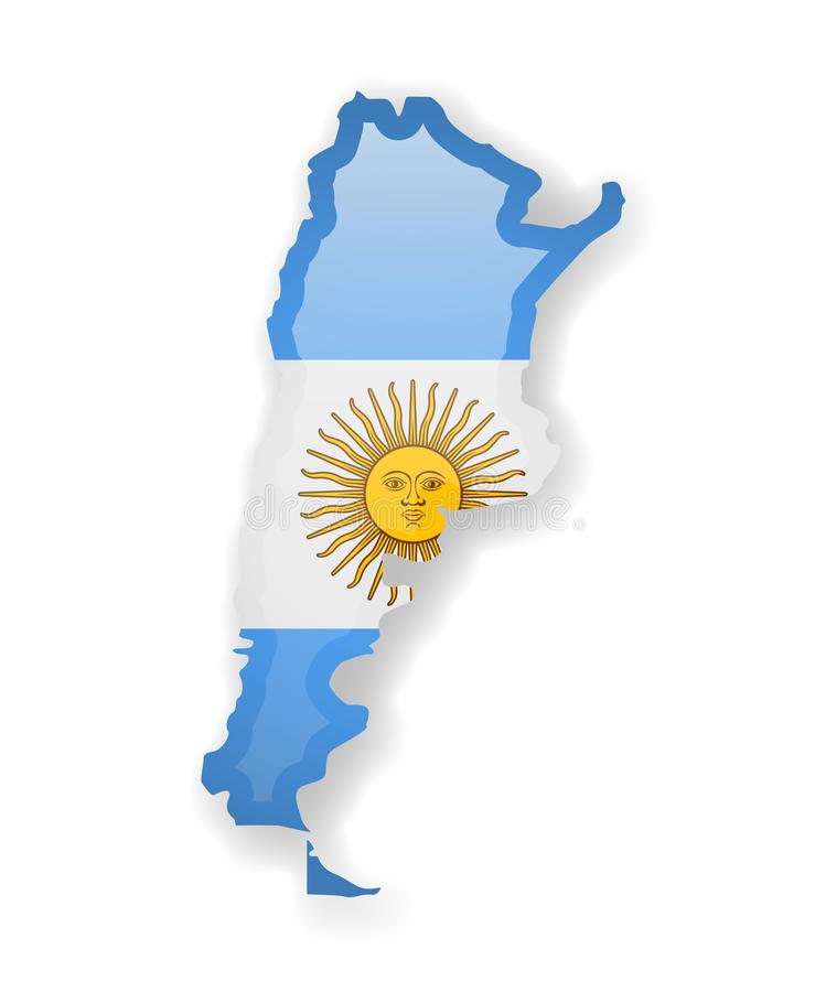 Argentyna flaga i kontur kraj na bia?ym tle ilustracji