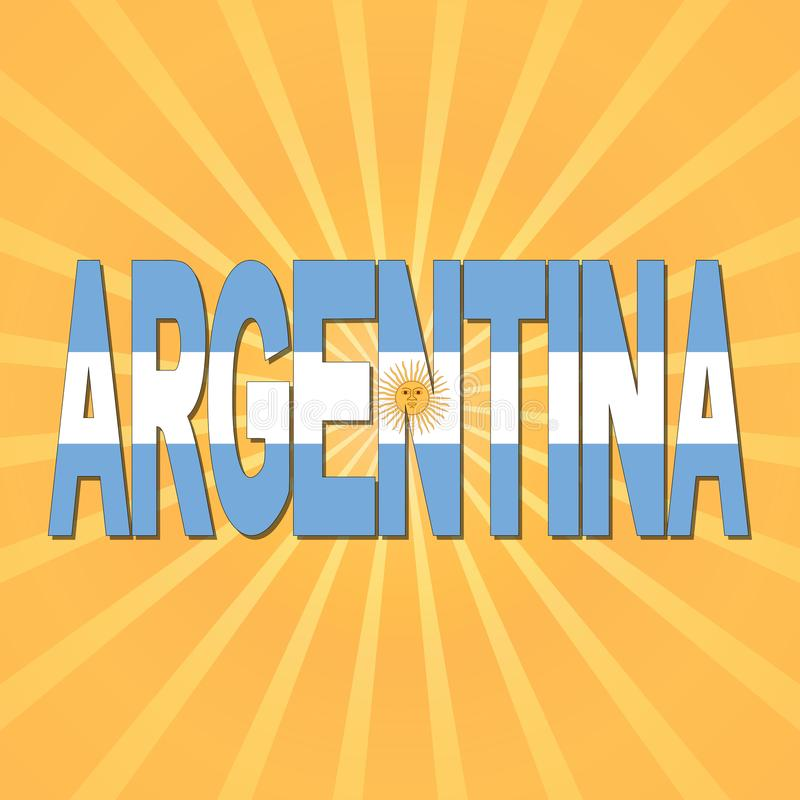 Argentyna flaga tekst z sunburst ilustracją royalty ilustracja