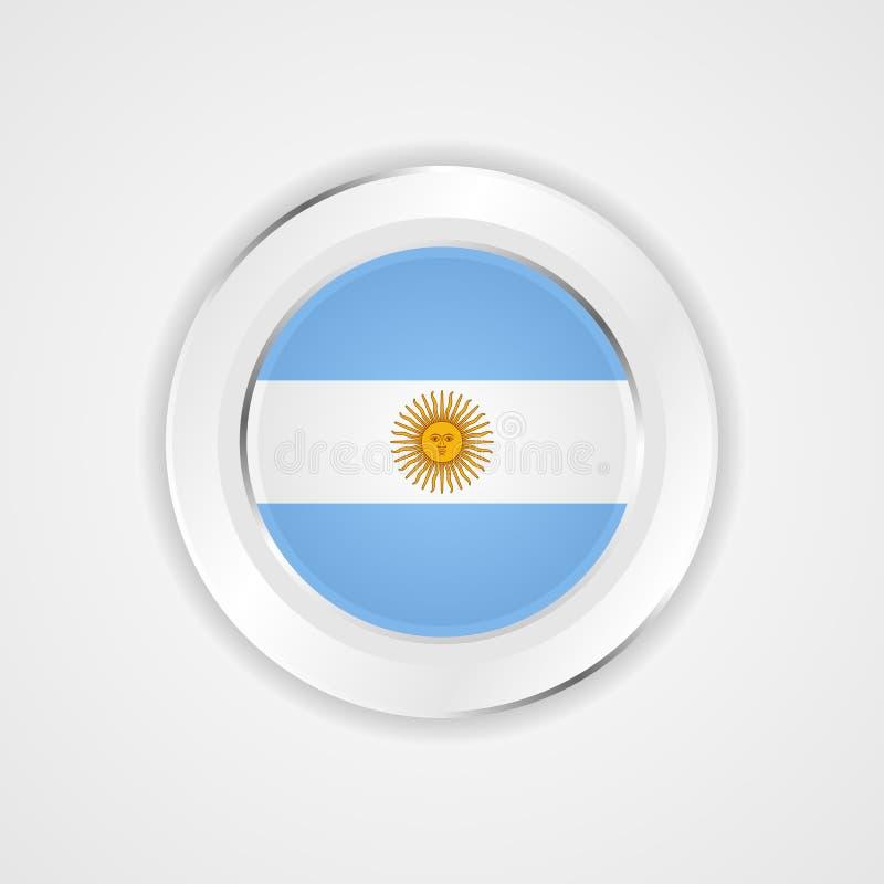 Argentyna flaga w glansowanej ikonie royalty ilustracja