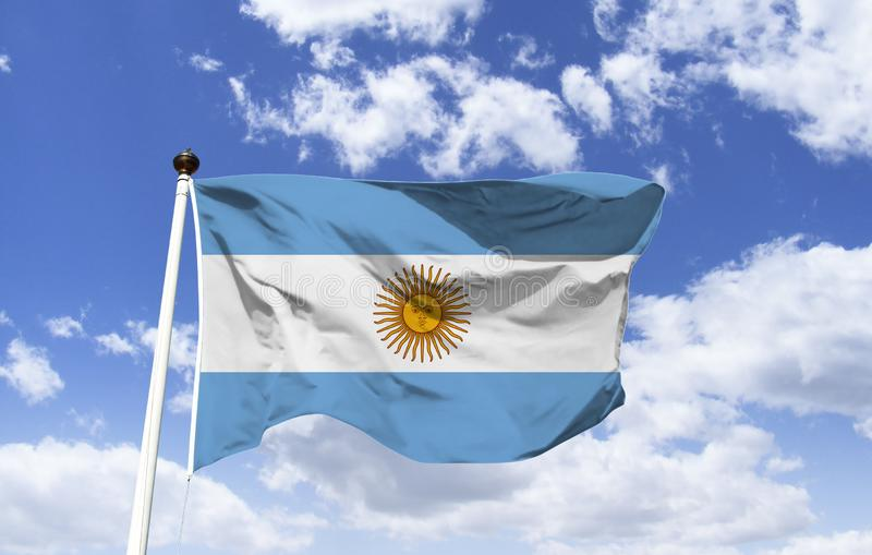 Argentyna flagi mockup w wiatrze ilustracji