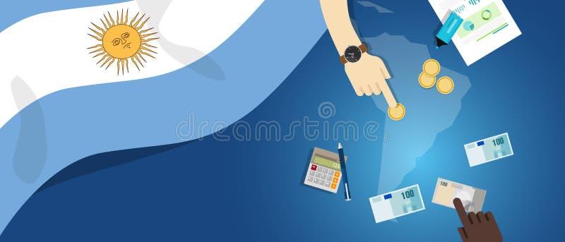 Argentyna gospodarki pieniądze handlu pojęcia fiskalna ilustracja pieniężny bankowość budżet z chorągwianą mapą i walutą ilustracja wektor