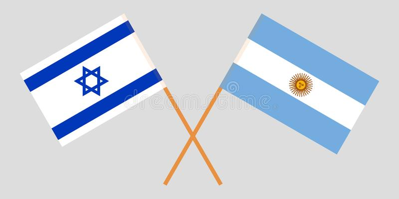 Argentyna i Izrael Argentinean i izraelity flagi Oficjalni kolory Poprawna proporcja wektor royalty ilustracja