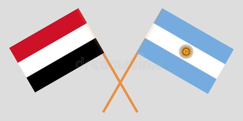Argentyna i Jemen Argentinean i Jemeńskie flagi Oficjalni kolory Poprawna proporcja wektor royalty ilustracja