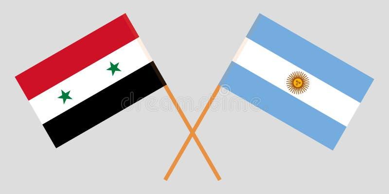 Argentyna i Syria Argentinean i syryjczyka flagi Oficjalni kolory Poprawna proporcja wektor ilustracji