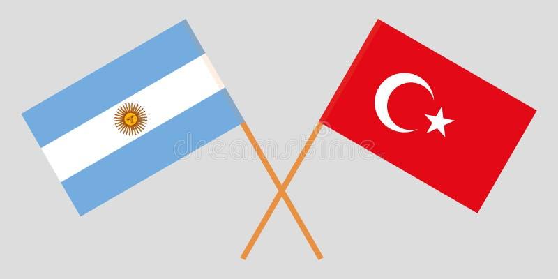 Argentyna i Turcja Argentinean i turecczyzny flagi Oficjalni kolory Poprawna proporcja wektor ilustracji