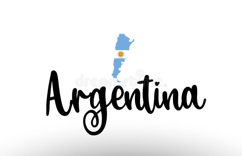 Argentyna kraju duży tekst z flagą wśrodku mapy pojęcia logo royalty ilustracja