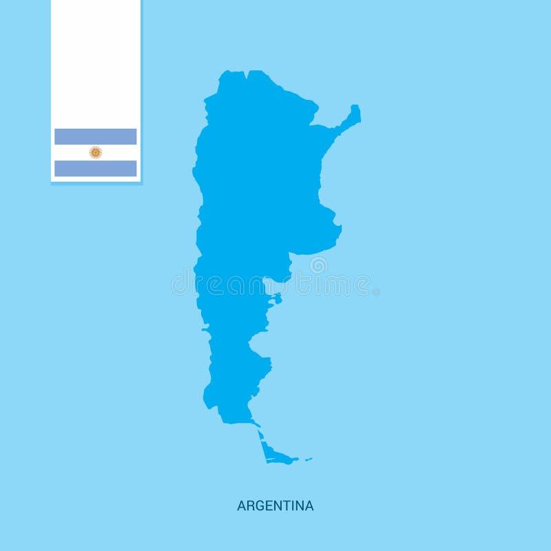 Argentyna kraju mapa z flagą nad Błękitnym tłem ilustracja wektor