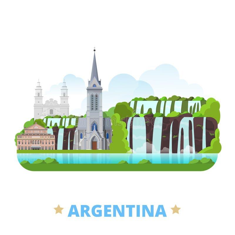 Argentyna kraju projekta szablonu kreskówki Płaski sty ilustracji