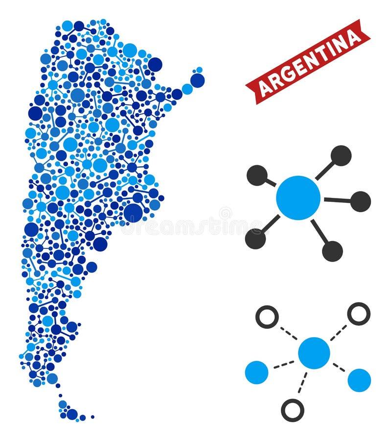 Argentyna mapa Łączy skład ilustracja wektor