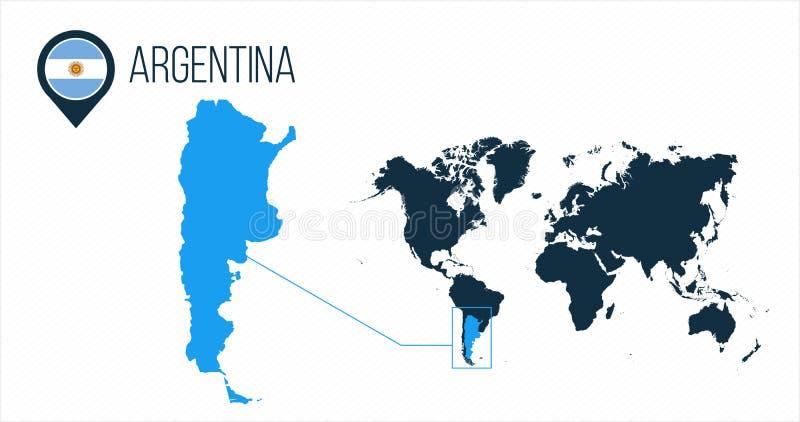 Argentyna mapa lokalizować na światowej mapie z flagą, mapy szpilka i pointer lub Infographic mapa Wektorowa ilustracja odizolowy royalty ilustracja