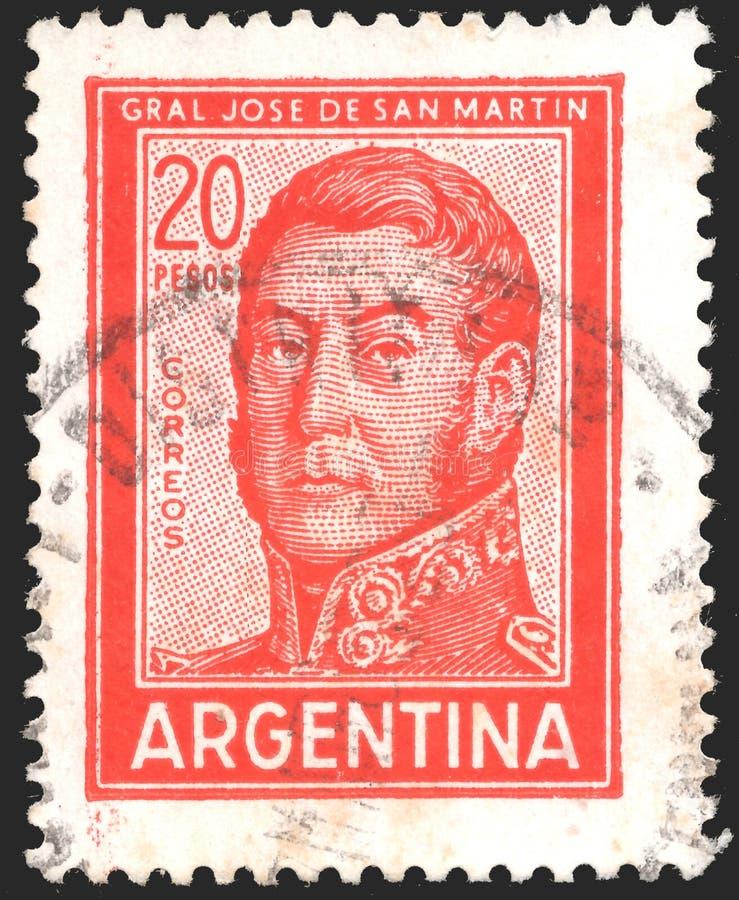 ARGENTYNA - OKOŁO 1966: Znaczek drukujący w Argentyna pokazuje Jose Francisco De San Martin 1778-1850, osobowości i krajobrazy, obraz stock