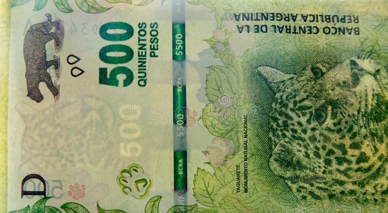500 Argentyna peso rachunków szczegół fotografia royalty free