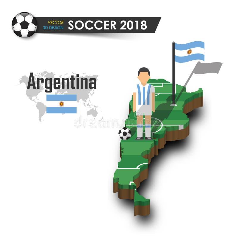 Argentyna piłki nożnej krajowa drużyna Gracz futbolu i flaga na 3d projekta kraju mapie Odosobniony tło Wektor dla internationa royalty ilustracja