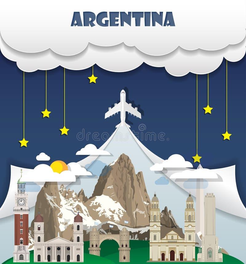 Argentyna podróży tła punktu zwrotnego Globalna podróż I podróż Ja ilustracja wektor
