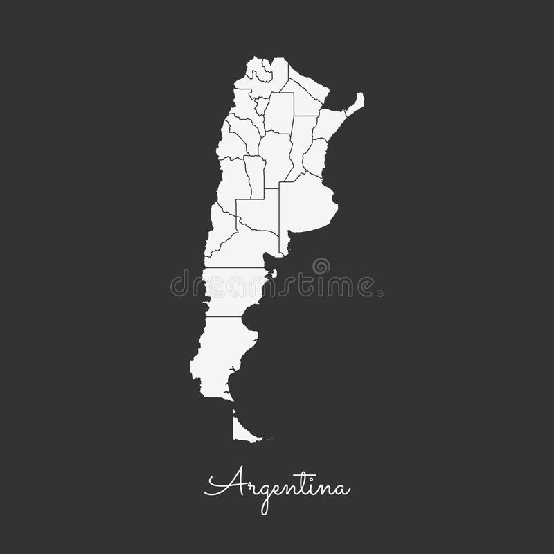Argentyna regionu mapa: biały kontur na popielatym ilustracja wektor