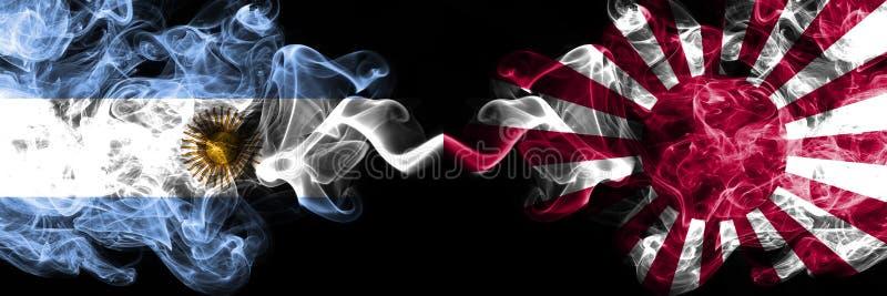 Argentyna vs Japonia, Japończycy, palące się na słońcu mystyczne flagi pożarowe umieszczone obok siebie Koncepcja grubej jedwabis ilustracja wektor