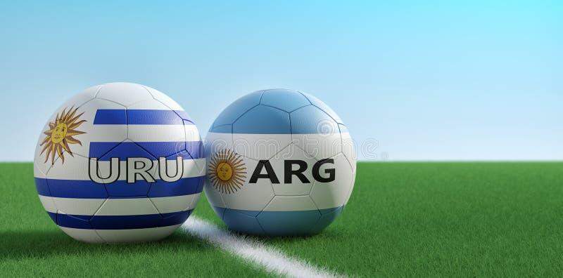 Argentyna vs Urugwaj mecz pi?karski - pi?ek no?nych pi?ki w Argentinas i Urugwaj krajowych kolorach na boisko do pi?ki no?nej royalty ilustracja