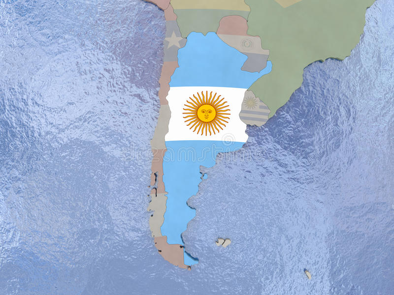 Argentyna z flaga na kuli ziemskiej royalty ilustracja