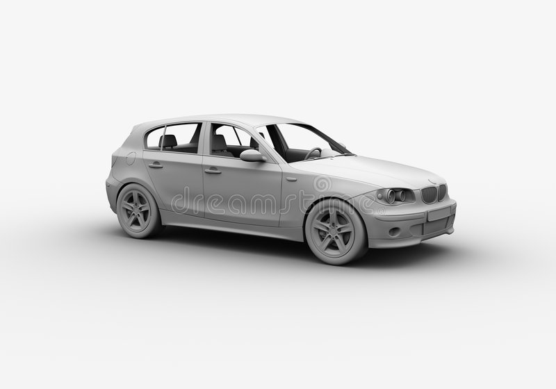 A argila 3D do carro rende fotografia de stock royalty free