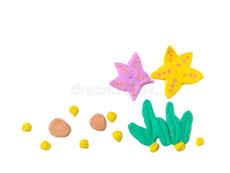 Argila subaquática bonita do plasticine, massa da alga da estrela do mar foto de stock